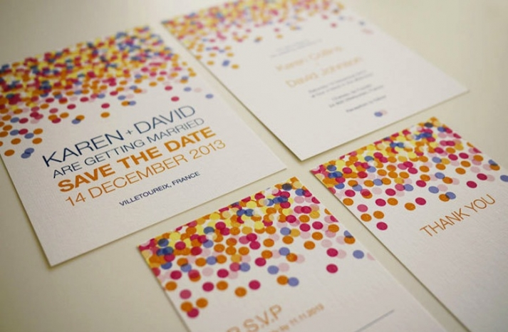wedding inspiration from Etsy polka dots confetti save the date