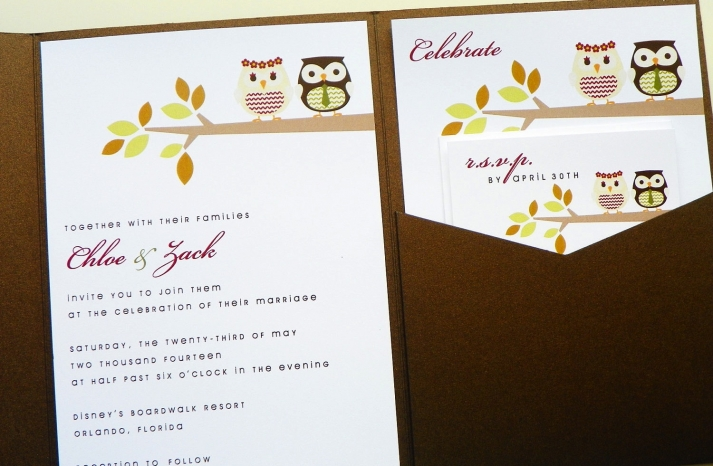 owls for the wedding 2012 reception trends handmade owl autumn invitation