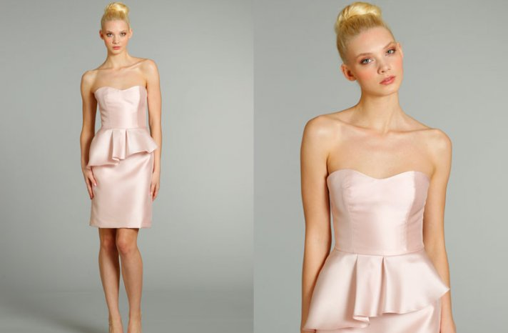 bridesmaids dresses for stylish bridal parties Jim Hjelm from JLM Couture light pink strapless