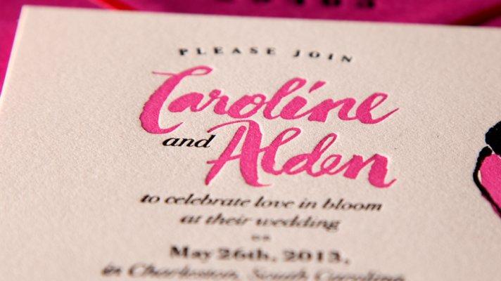 wedding stationery crush Ladyfingers Letterpress rose invite suite 2