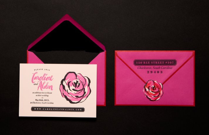 wedding stationery crush Ladyfingers Letterpress rose invite suite 2