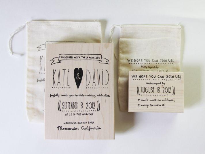 custom wedding ideas RSVP stamp