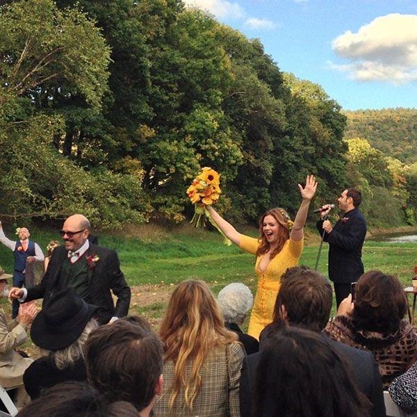 real wedding amber tamblyn david cross upstate new york instagram yellow dress 5