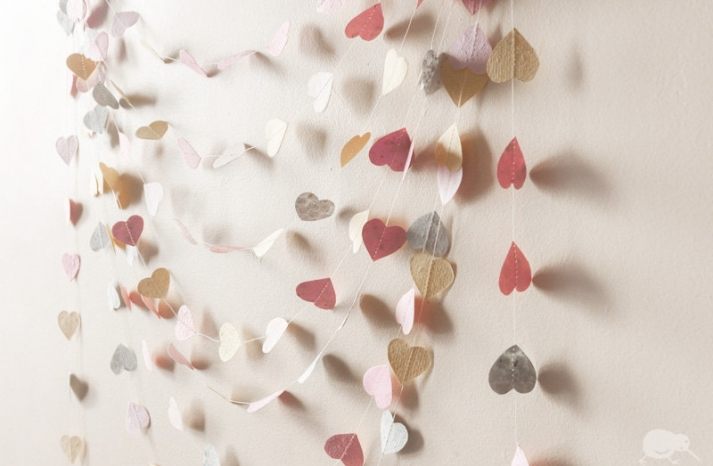 recycled wedding decor paper heart garland