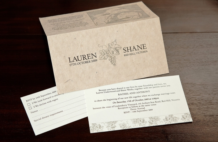 eco friendly wedding finds recycled on Etsy vineyard invitations
