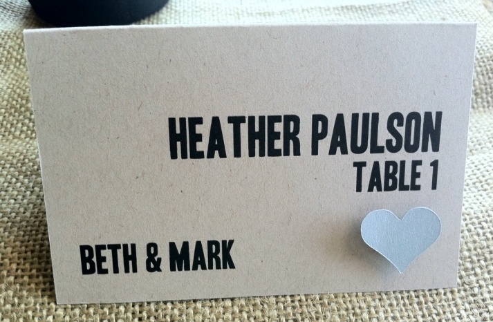 eco friendly wedding finds recycled on Etsy modern escort cards