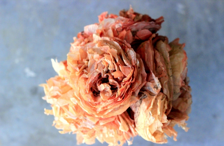 fall wedding flowers bouquets and centerpieces orange pink tissue flowers