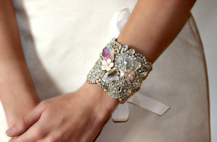 bridal cuff bracelet handmade wedding accessories 10