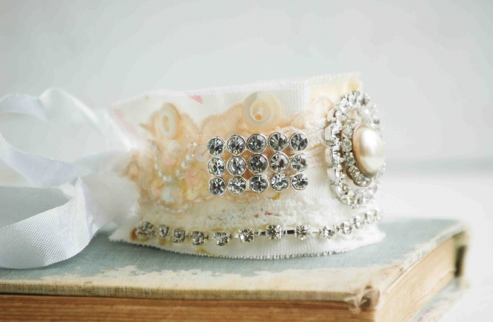 bridal cuff bracelet handmade wedding accessories 2