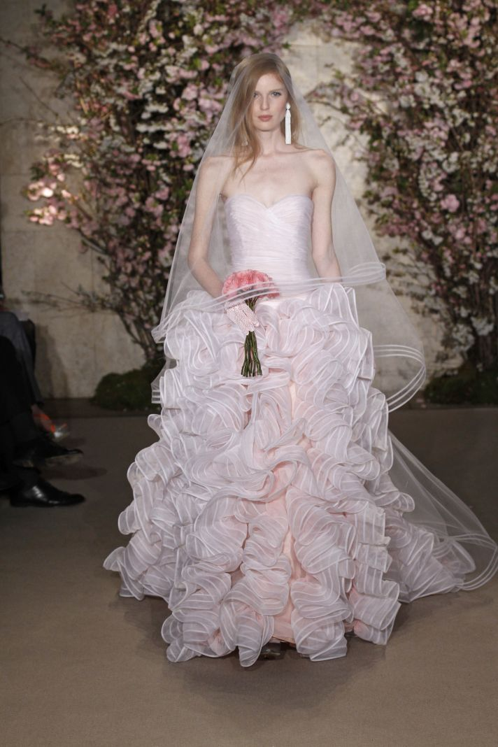 Get jessica biels white aisle style 9 pretty pink wedding for White with pink wedding dresses