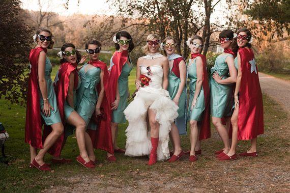 funny bridesmaids photo superhero wedding party