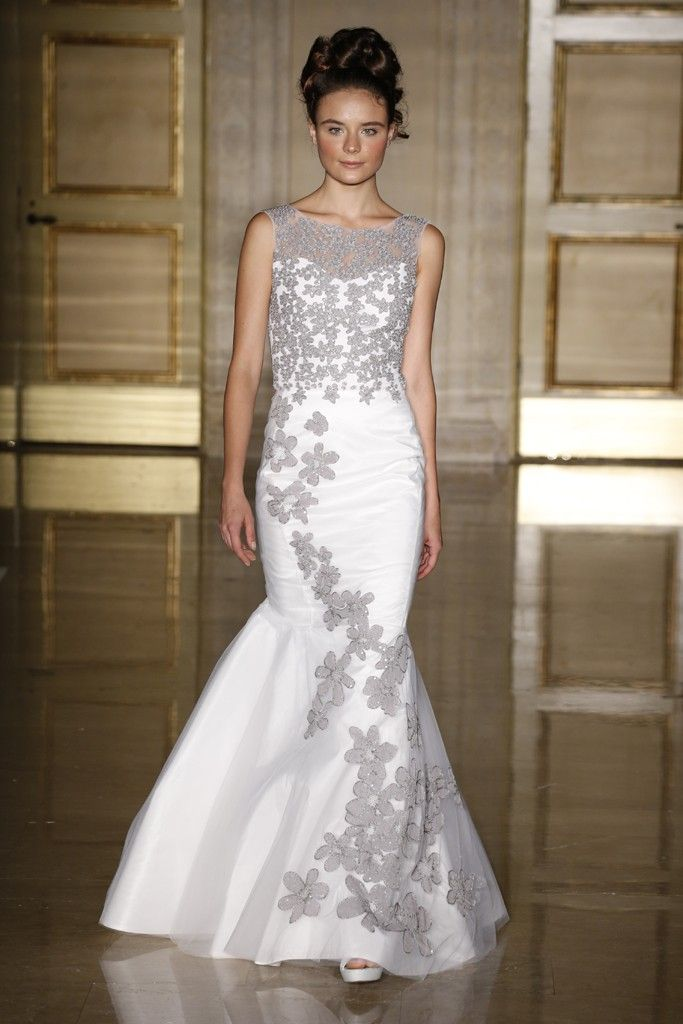 Douglas hannant takes floral embroidery to the edge with for Silver and white wedding dresses