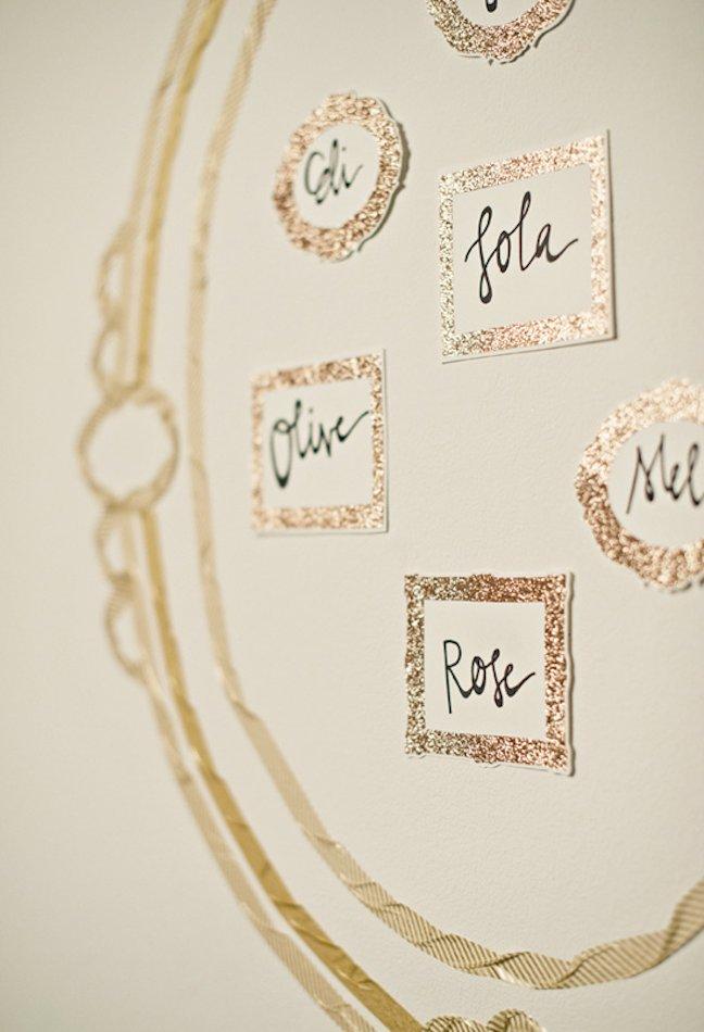 unique wedding escort cards DIY ideas metallic 1