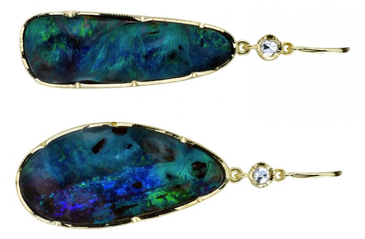 Something Blue Bridal Splurge wedding earrings opal teardrops