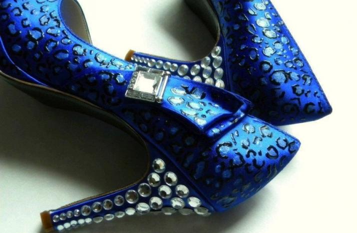 Something Blue custom wedding shoes