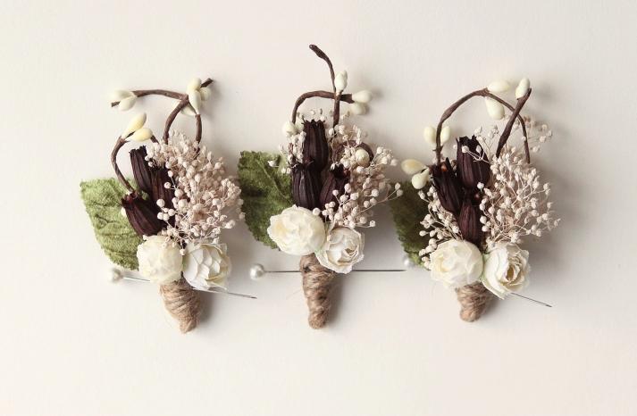 Rustic Wedding Ideas Woodland Weddings by Etsy boutonnieres 2