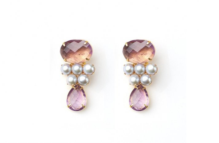 Amethyst Wedding Jewelry with pearls