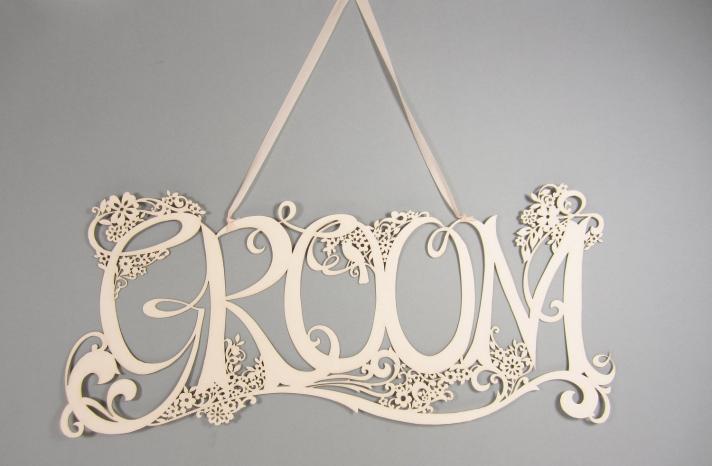 Handmade Wedding Finds Laser Cut Groom sign