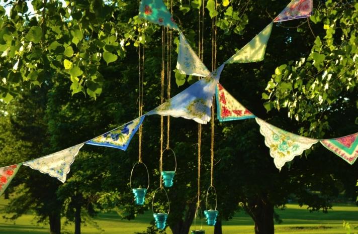 Anthropologie inspired wedding decor hankie garland