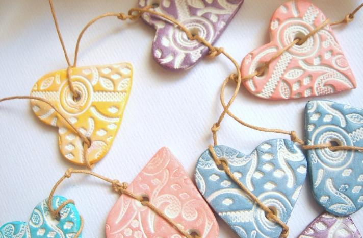 Romantic Wedding Garland Pastel Hearts
