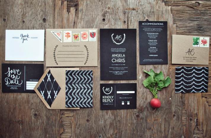 Chalkboard Wedding Invitation Suite rustic weddings