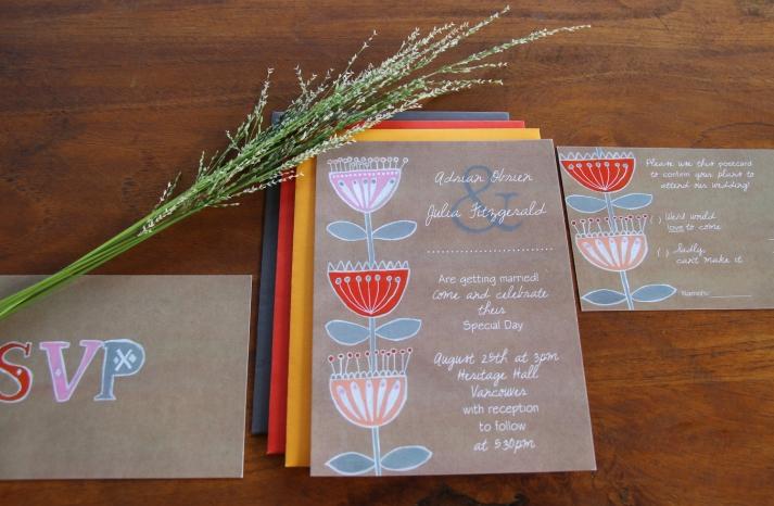 Kraft Paper Wedding Invitations Folksy Floral
