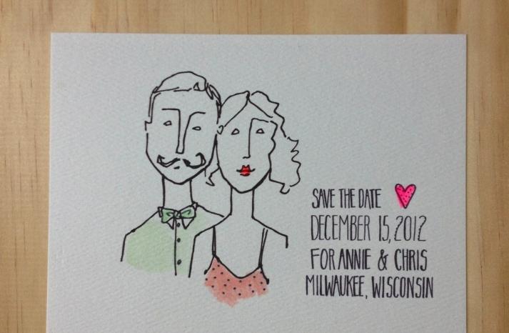 Simple Wedding Save the Date Custom Portrait