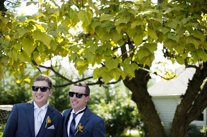 New Jersey Groom poses with Best Man and Groomsmen