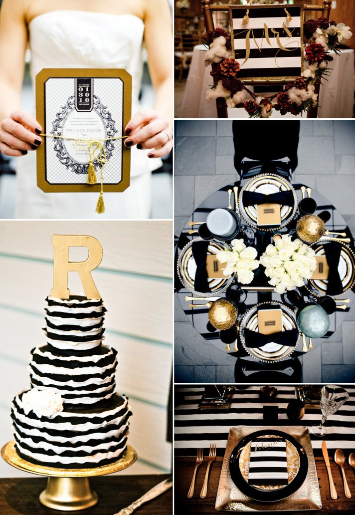 Glamorous Black And Gold Wedding Inspiration