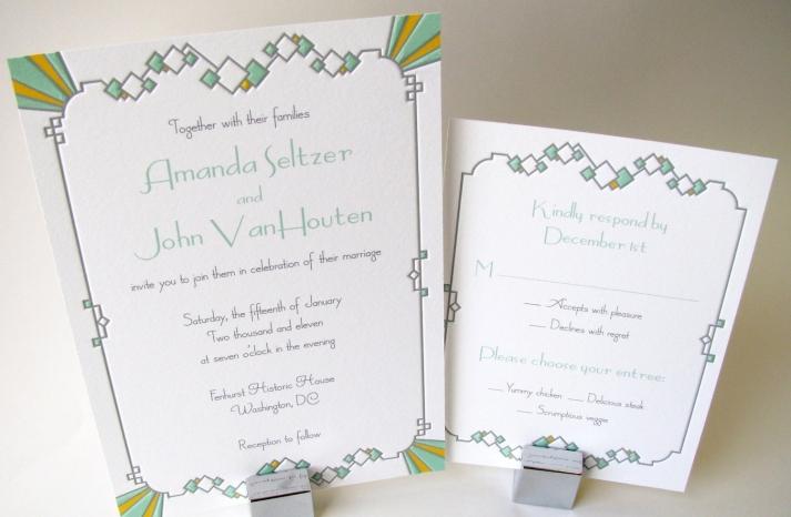 Understated Art Deco Wedding Invitations Letterpress