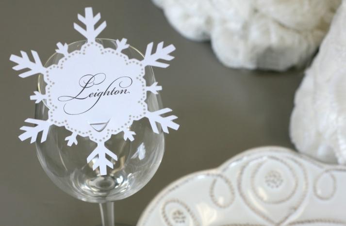 Snowflake Wedding Escort Card for Winter Weddings