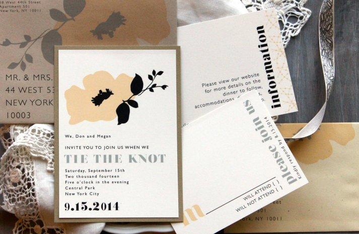 Retro Floral Wedding Invitations Neutrals