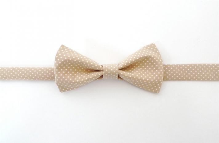 Classic Beige White Bow Tie