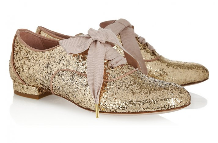 Gold Sparkle Wedding Shoes Flat Laceups