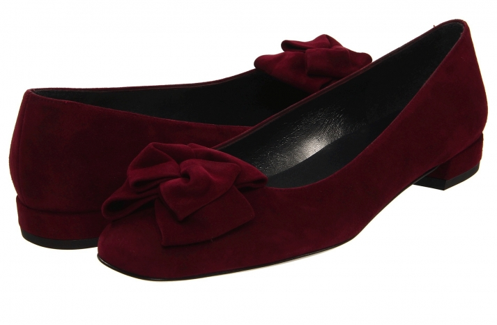 Flat Velour Wedding Shoes in Deep Red