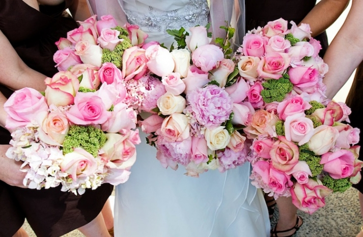 Pink Roses for Bride and Bridesmaid Bouquets