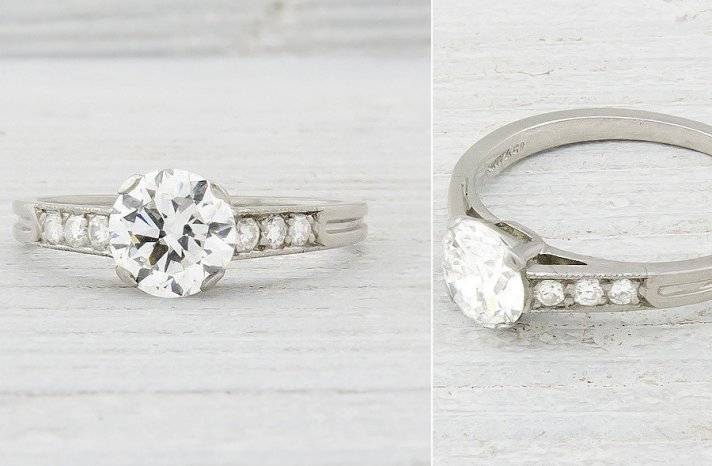 Vinage Engagement Ring with Round Stone channel set diamonds