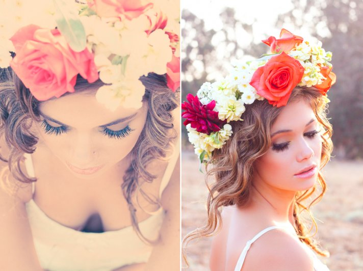 Bohemian Bride DIY Floral Hair Crown