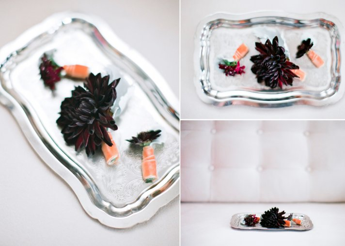 Modern Winter Wedding DIY Bouts Black Dahlias