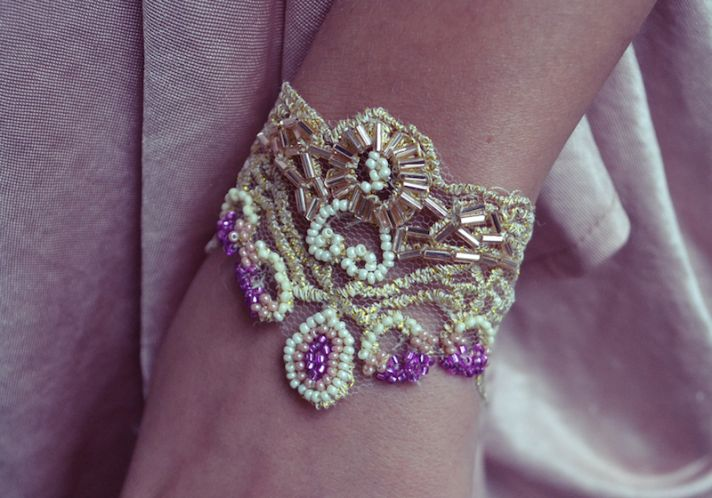 DIY wedding bracelet gold purple