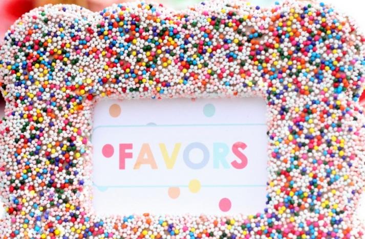 Colorful Confetti Frames for Wedding Reception