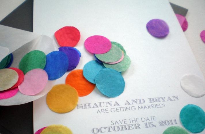Festive Confetti Wedding Invitation