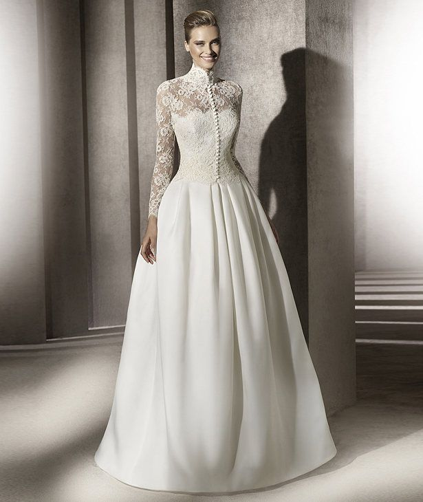 Modest Pronovias Wedding Dress Lace Sleeves