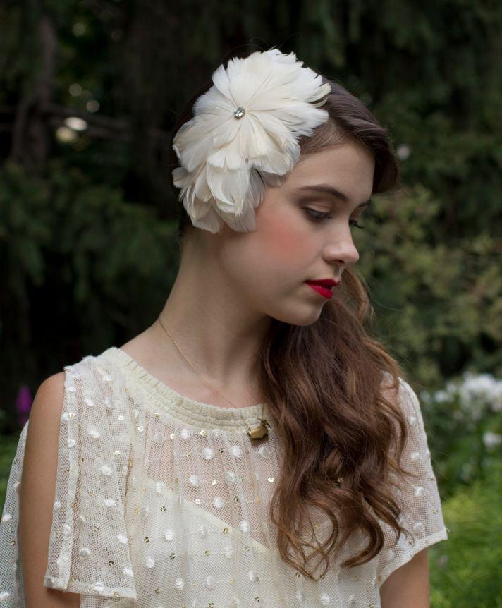 Cream Feather Fascinator for Elegant Brides