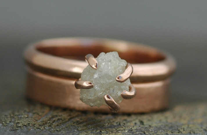 Rose Gold Wedding Ring and Band rough diamond