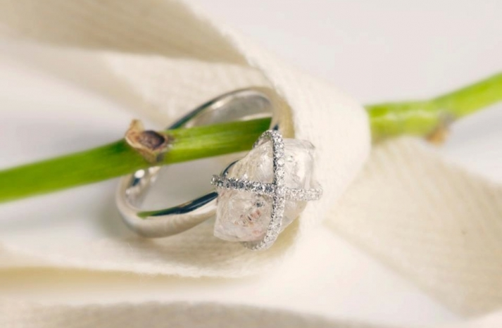 Platinum and Rough Diamond Engagement Ring