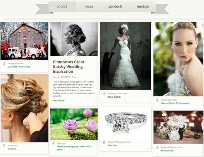 OneWed com for 2013 Brides Inspiration for the Wedding Planning Journey