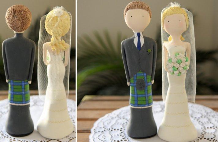 Cute Wedding Cake Topper Plaid Adorned Groom