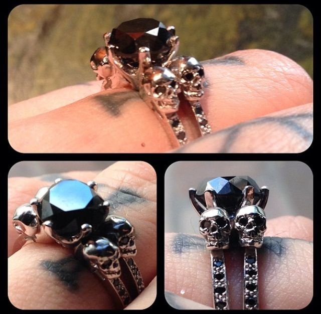 Celebrity Engagement Rings Black Diamonds and Skulls