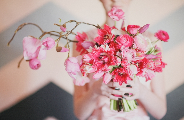 Whimsical Pink Branchy Bridal Bouquet